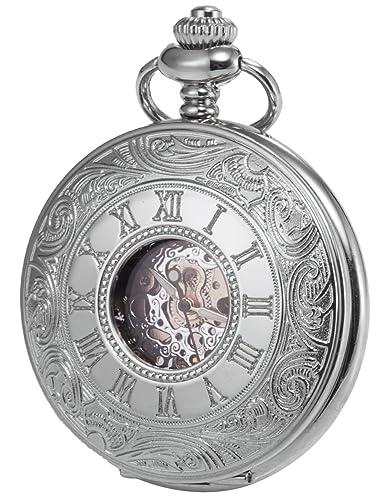 KS Silber Mechanische Taschenuhr Handaufzug Skelett Zifferblatt mit Kette und Geschenkbox KSP030