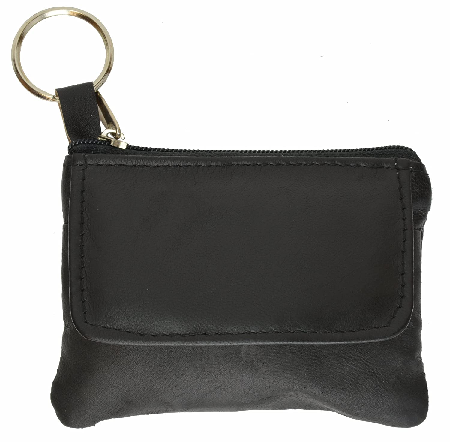 100% Leather Zippered Pocket Change Purse Brown #955