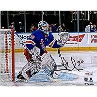 "$161 » Henrik Lundqvist New York Rangers Autographed 8"" x 10"" Blue Jersey in Net Photograph - Fanatics Authentic Certified"