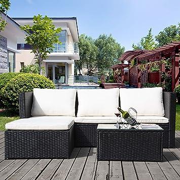 Merax Outdoor-Möbel Rattan Wicker Terrasse Set Anti-Splash Bistro Stühle  Gespräch Set mit Abnehmbare Kissen & Gehärtetem Glas Tischplatte für  Garten, ...