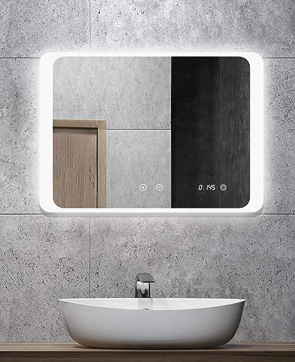 Miroir de salle de bain avec éclairage - ALLDREI AD026A anti-buée avec  horloge numérique, éclairage LED, interrupteur tactile – 80x60 cm, couleur  de ...