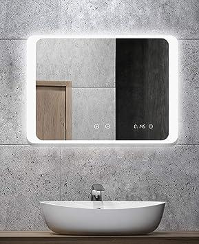 Miroir de salle de bain avec éclairage - ALLDREI AD025A anti-buée avec  horloge numérique, éclairage LED, interrupteur tactile - 70x50 cm, couleur  de ...
