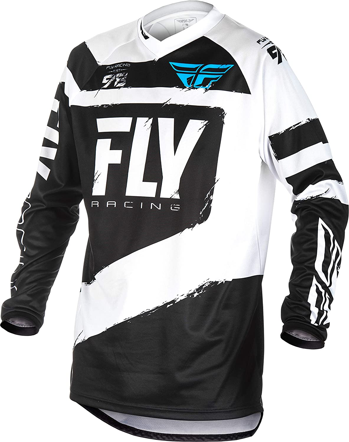 Large Black Fly Racing F-16 Mens Black//White Motocross Jersey