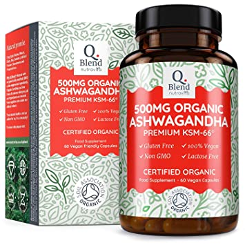Organic Ashwanghanda 500mg | 500mg Premium KSM-66 Ashwagandha per Vegan  Capsule - Ayurveda Herbal Supplement | Certified Organic by Soil  Association |