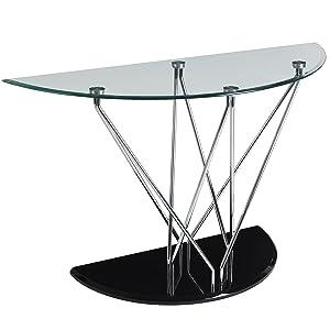 Premier Housewares Halo Demi Lune Console, Table en Verre, Noir, 75x 122x 46cm