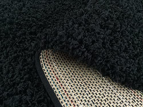 EnglishHome Shagy Collection Solid Color Design Shag Area Rug Black