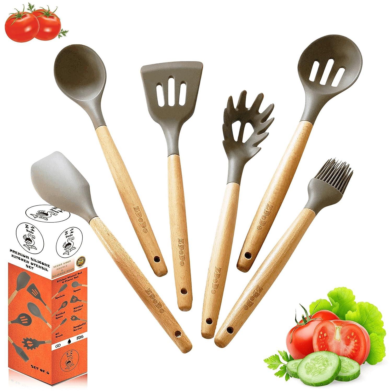 Amazoncom Zdodo Premium Kitchen Utensil Set  6 Piece Grey