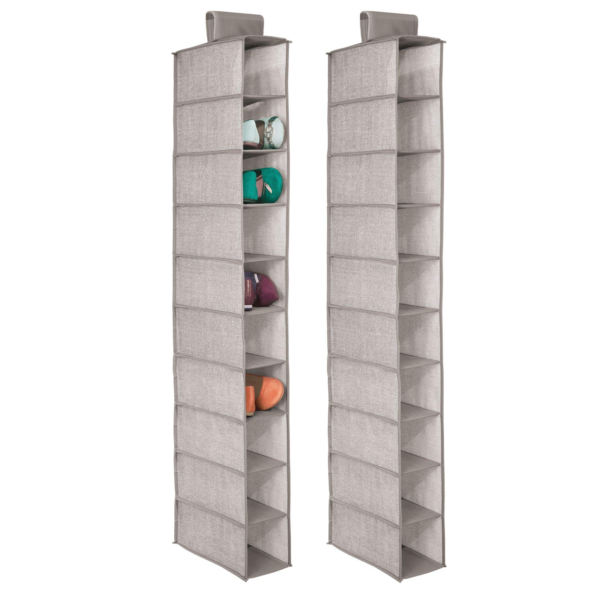 mDesign Soft Fabric Closet Organizer - Holds Shoes Handbags, Clutches, Accessories - 10 Shelves in Each Over Rod Hanging Storage Unit - Pack of 2, Textured Print, Solid Trim in Linen