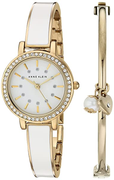 Anne Klein Women's AK/2364WTST Swarovski Crystal Accented Gold-Tone and White Watch and Bangle Set