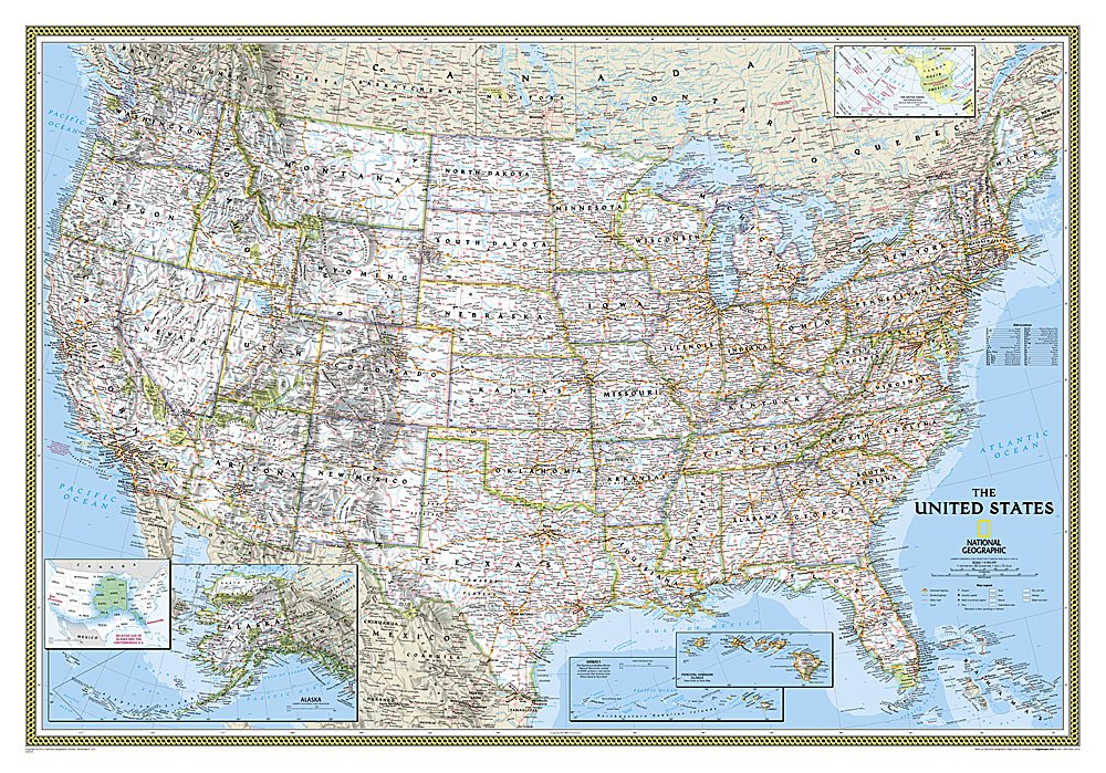 National Geographic United States Classic Wall Map 43 5 X 30 5 Inches National Geographic Reference Map National Geographic Maps 0749717008441 Amazon Com Books