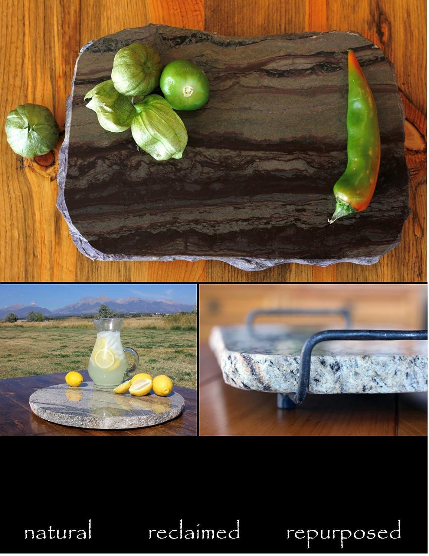 Brown Handmade Reclaimed Granite Cheeseboard with Rough Chiseled Edge and Handforged Metal Handles 12 x 11