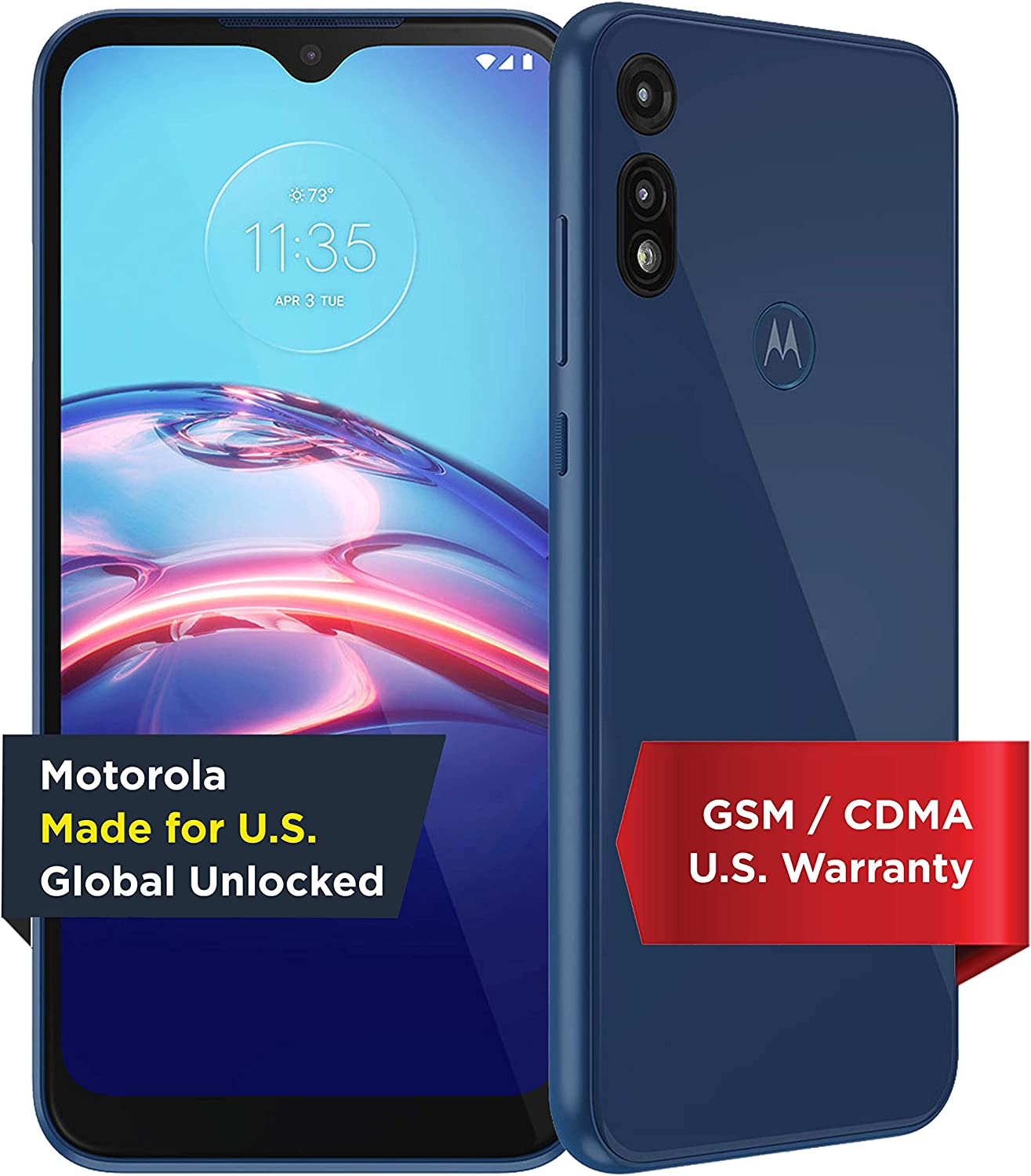 Moto E | Unlocked | Made for US by Motorola | 2/32GB | 13MP Camera | 2020 | Blue, XT2052-1, 2/32 GB | Moto E | 13MP Camera | Blue | US
