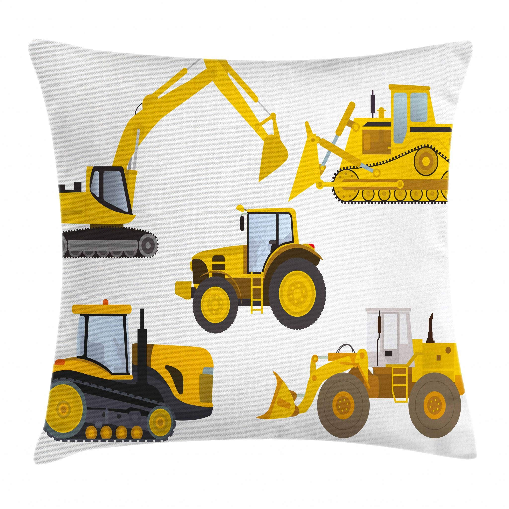 Lunarable Boy's Room Throw Pillow Cushion Cover by, Animation Inspired Heavy Machinery Drawing Construction Cartoon Bulldozer Print, Decorative Square Accent Pillow Case, 16 X 16 Inches, Yellow