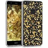 kwmobile TPU Silicone Case for Huawei P10 Lite - Crystal Clear Smartphone Back Case Protective Cover - Gold Transparent