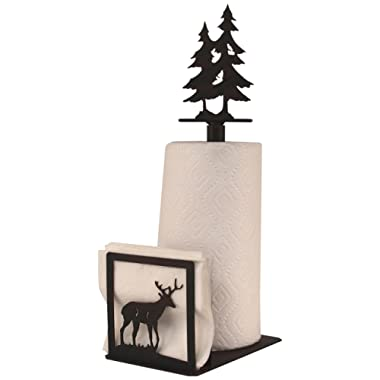 Coast Lamp Iron Deer Paper Towel/Napkin Holder with Double Pine Tree Topper