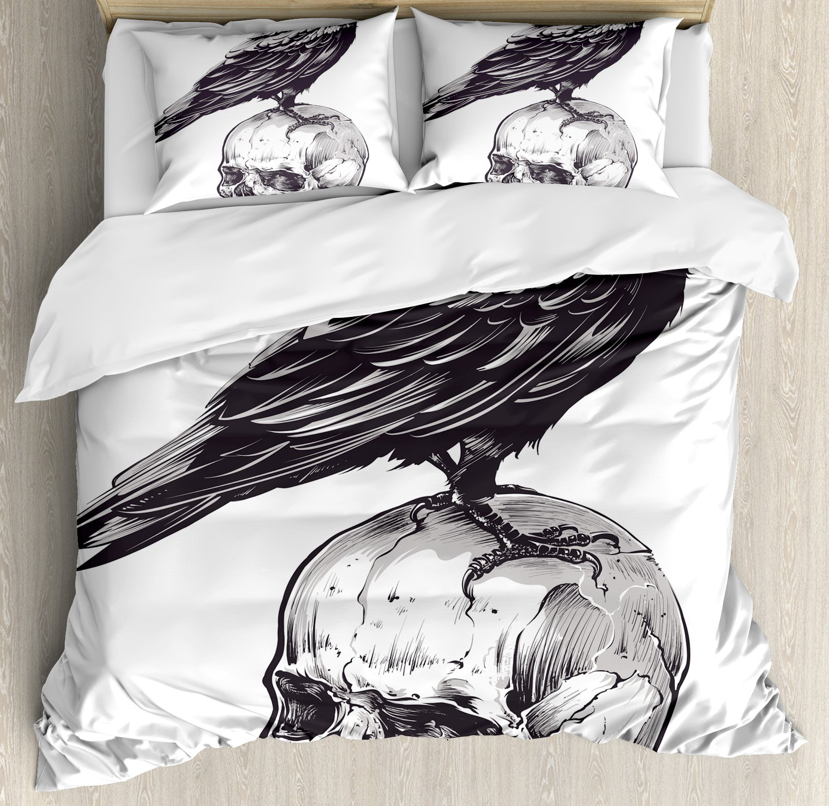 Scary King Size Duvet Cover Set by Ambesonne, Scary Movies Theme Crow Bird Sitting on a Human Old Skull Sketchy Image, Decorative 3 Piece Bedding Set with 2 Pillow Shams, Charcoal Grey White