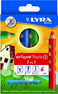 Lyra Groove Triple 3 in 1 Color Pencil Set, Pack of 6 (Japan Import)