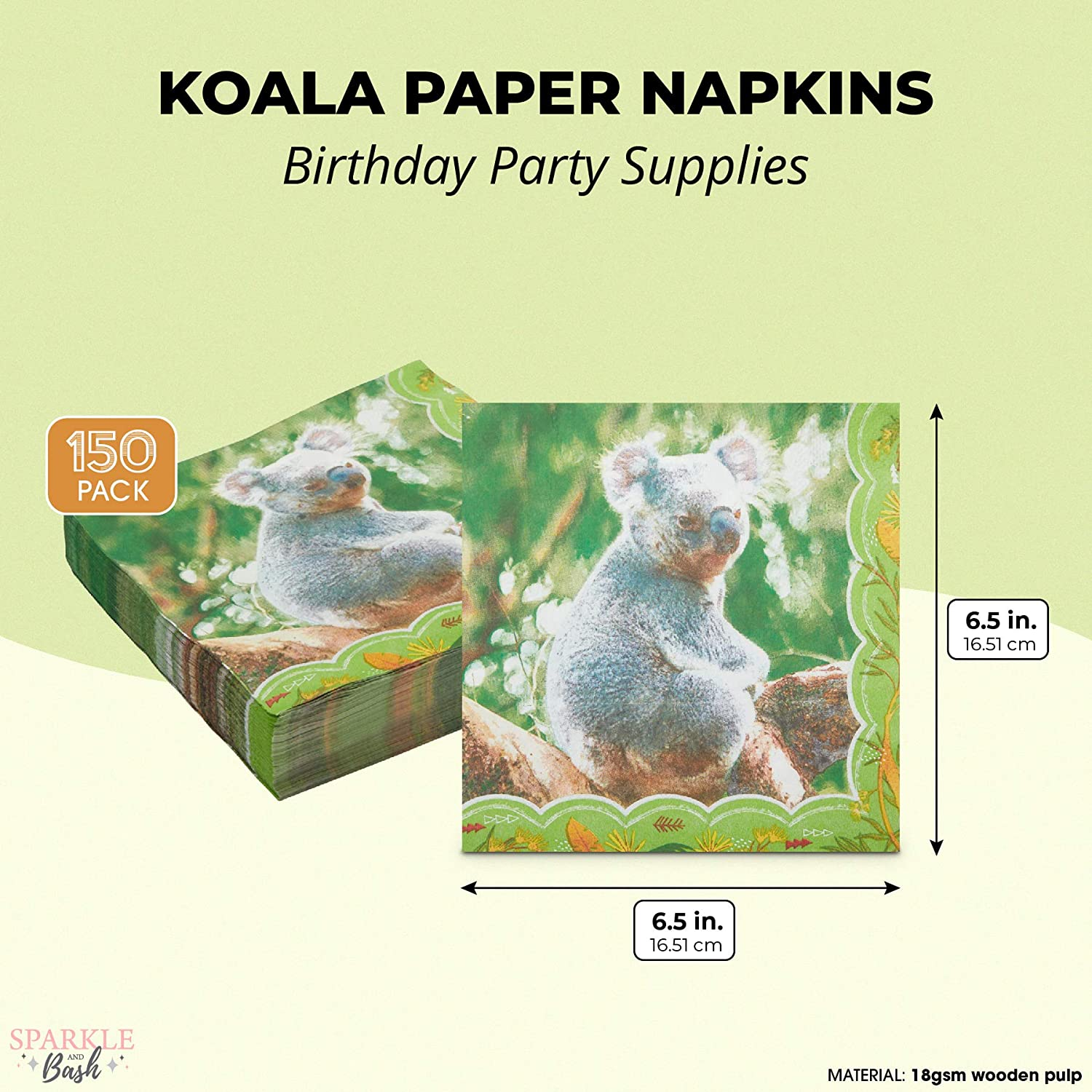 6.5 In, 150 Pack Koala Paper Napkins for Kids Animal Birthday Party Supplies
