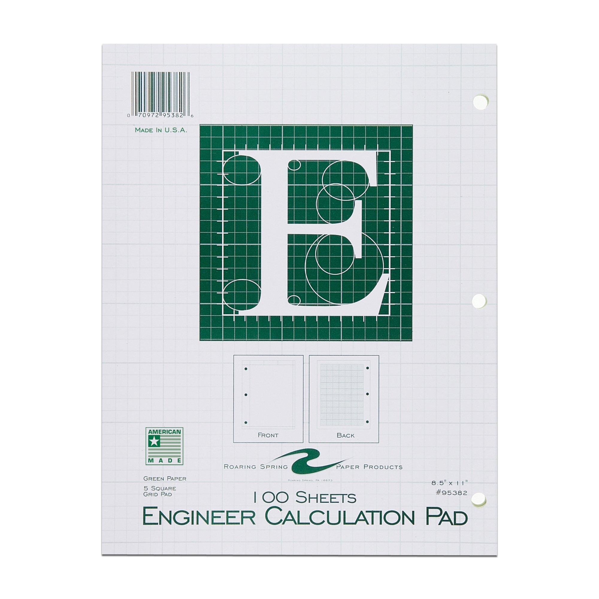 Roaring Spring Engineering Pad, 8.5'' x 11'', Green, 100 sheets