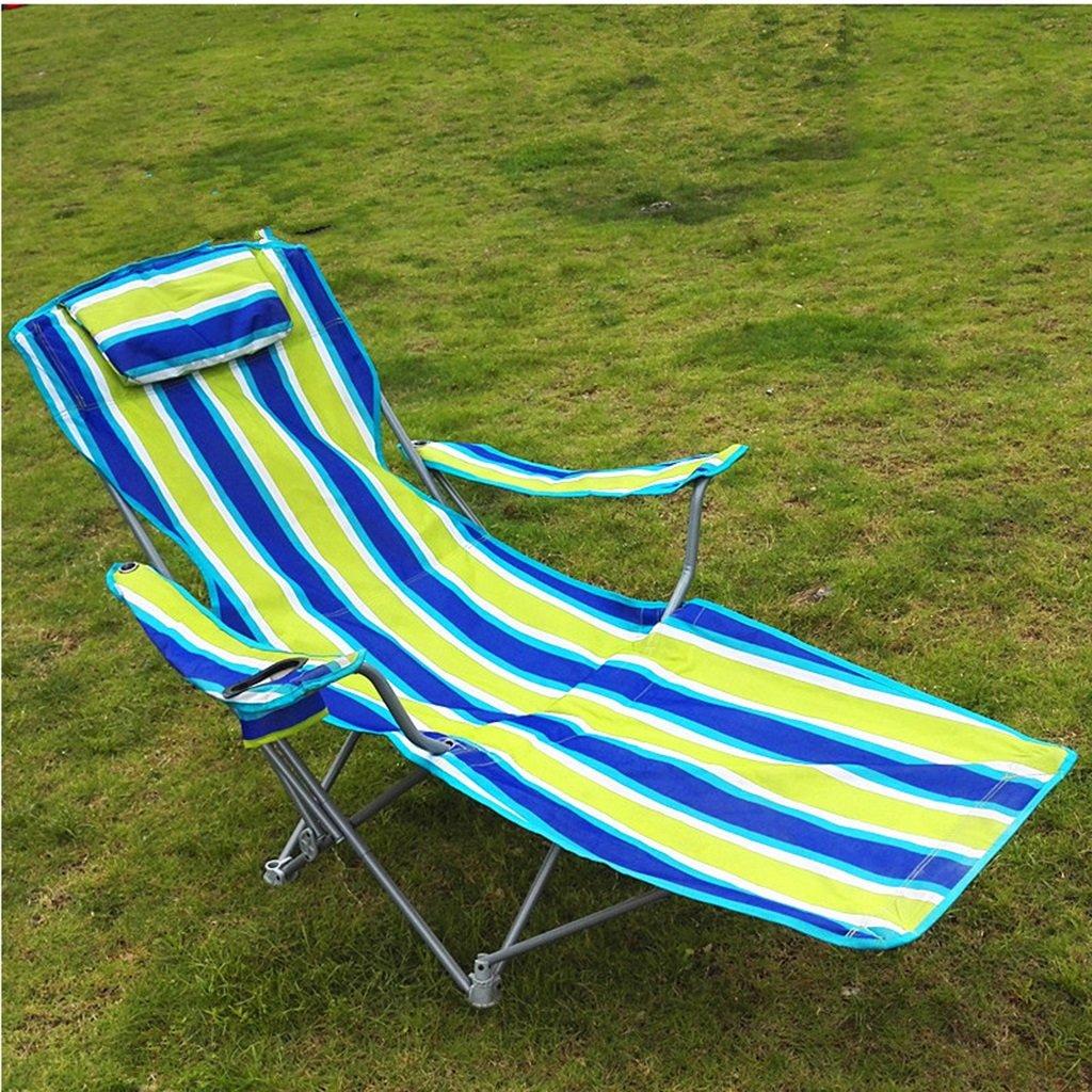 Klappstuhl Camping Stühle Mit Fußstütze Beach Travel Outdoor Angeln Portable Sitz Metall Chaiselongue Stuhl, Streifen, Halten 120 Kg