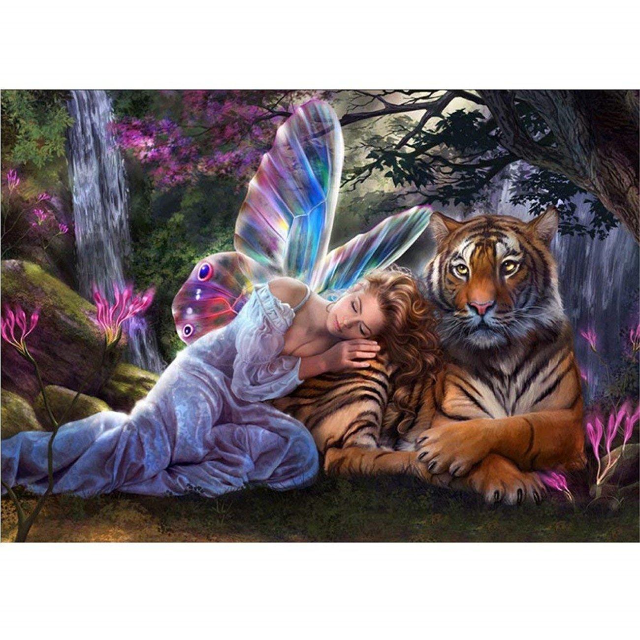 5D Pintura por Diamantes (5158) tigre y diosa