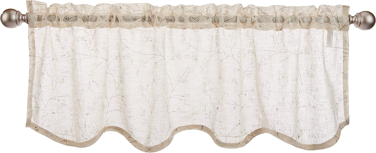 "LORRAINE HOME FASHIONS, Ivory, Willow Window Curtain Scalloped Valance, 54"" x 18"""