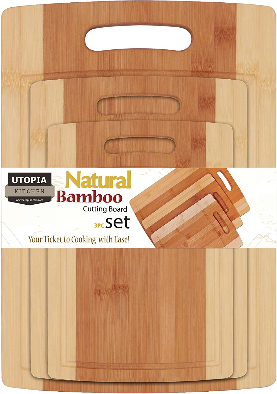 Utopia Kitchen Bamboo Cutting Board 3 Piece Set - Extra Durable - Better Than Ordinary Wood Cutting Boards - Large, Medium and Small Bamboo Cutting Boards for Bread, Vegetables, Chicken UK0209