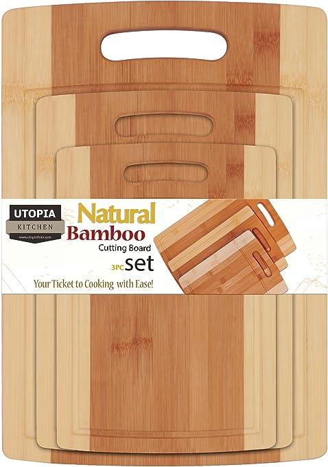 Amazon Bamboo Cutting Board 3 Piece Set Extra Durable