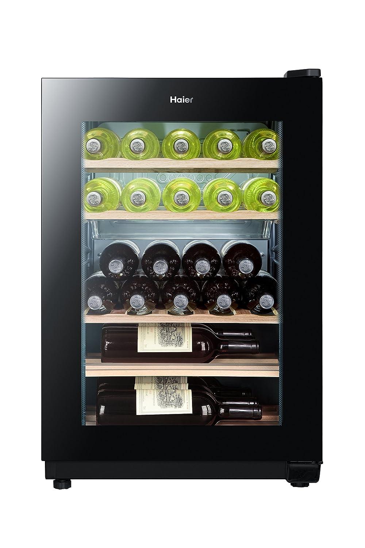 Haier WS25GA Weinkühlschrank / 77.0 cm Höhe/Kühlteil / Gefrierteil/UV undurchlässige Glasscheibe/LED Temperaturalarm/schwarz [Energieklasse A] WS 25 GA