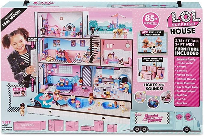 Amazon.com: L.O.L. Surprise! Real Wood House w/ New Family & 85+ Surprises, Multicolor: Toys & Games