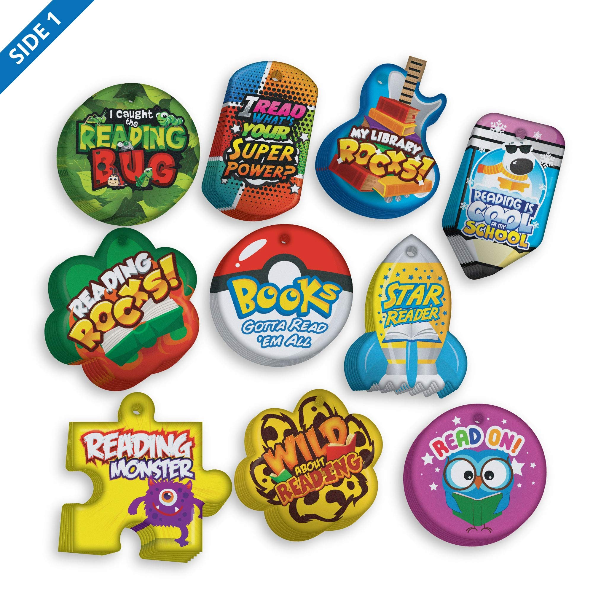 Encourage and Build Young Readers Brag Tag Value Pack 2: 500 Tags (50 Tags for Each Shape) + 150 Chains
