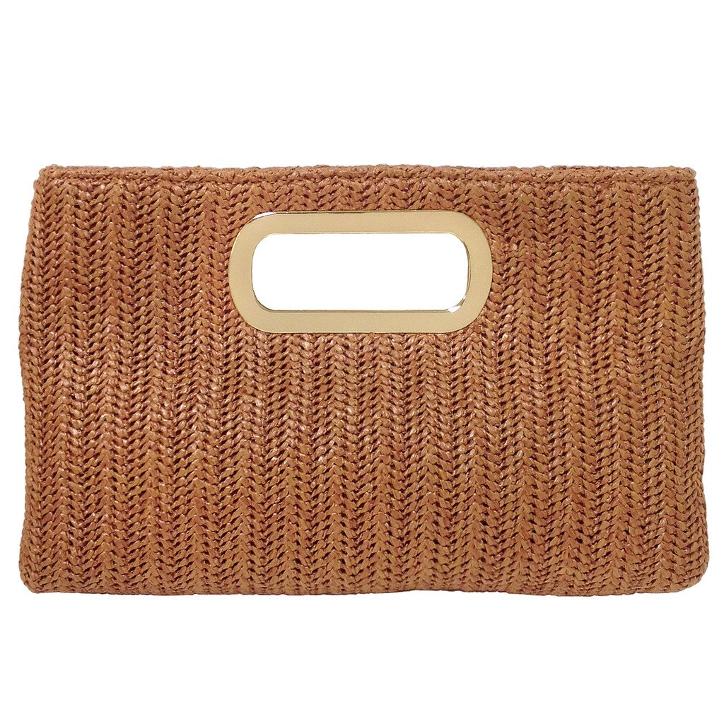 Top Handle Straw Clutch, Tan