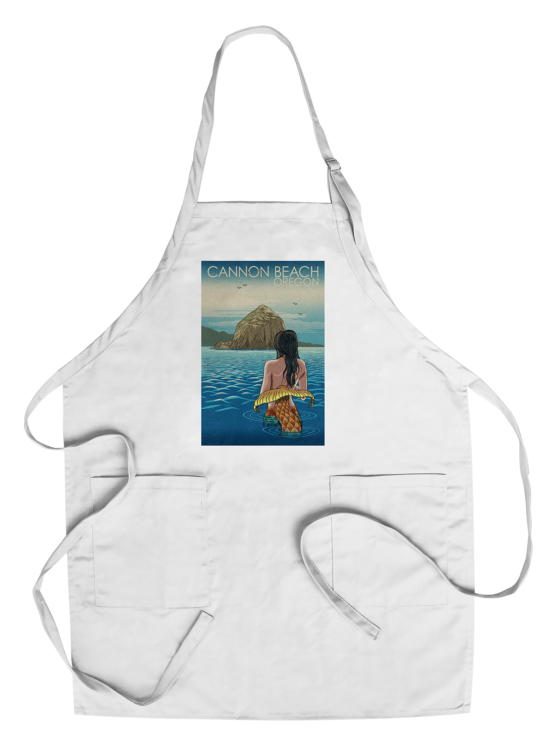 Cannon Beach, Oregon - Mermaid Japanese Woodblock (Cotton/Polyester Chef's Apron)