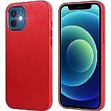 Arae iPhone 12 Mini Case, Ultra Thin Slim Leather Case [Anti-Scratch] Hard Back Cover for iPhone 12 Mini, 5.4 inch, Red