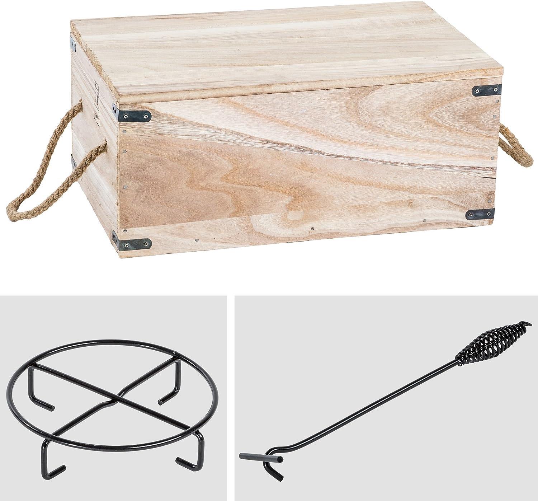 9 teiliges Dutch Oven Kochtopf Set aus Gusseisen in Holzkiste Pfanne Kessel neu