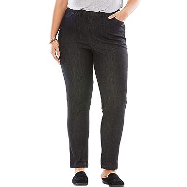 b2099aa3cf1 Woman Within Plus Size Petite Straight Leg Fineline Jean at Amazon Women s  Jeans store