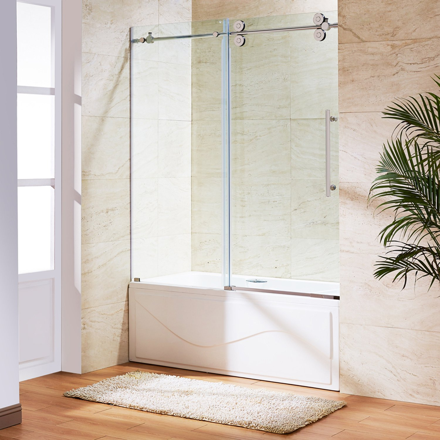 VIGO Elan 56 to 60-in. Frameless Sliding Tub Door with .375-in. Clear Glass and Stainless Steel Hardware