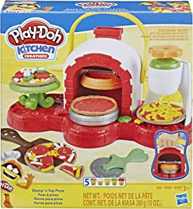 Play-Doh Kitchen Creations - Stamp n Top Pizza Oven Playset inc 5 Tubs of Dough - Kids Creative Toys - Ages 3+