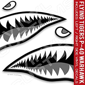 """Flying Tigers Shark Mouth Teeth Warhawk Vinyl Decals Tactical (30"""" inches - 1 Pair)"""