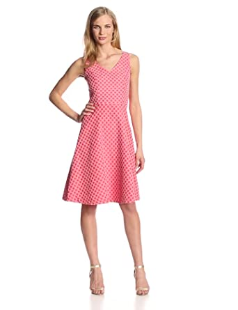 Isaac Mizrahi New York Women's Sleeveless Double V Neck Jacquard Fit and Flare Dress, Coral, 4