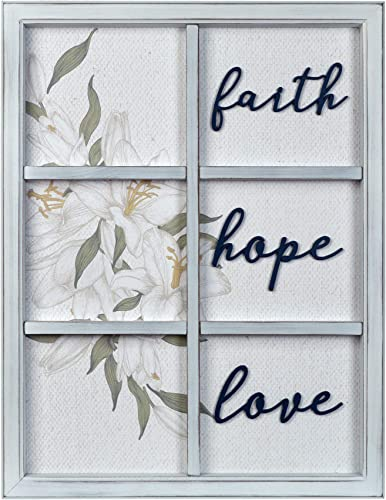 PRINZ Everyday Home Faith Hope Love Decorative Window Wall Art Hanging Plaque