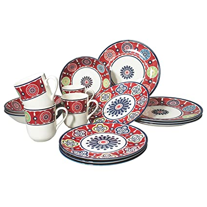 Tudor 16-Piece Porcelain Dinnerware Set Service for 4 - SUMAYA RED Royal  sc 1 st  Amazon.com : oriental tableware set - pezcame.com