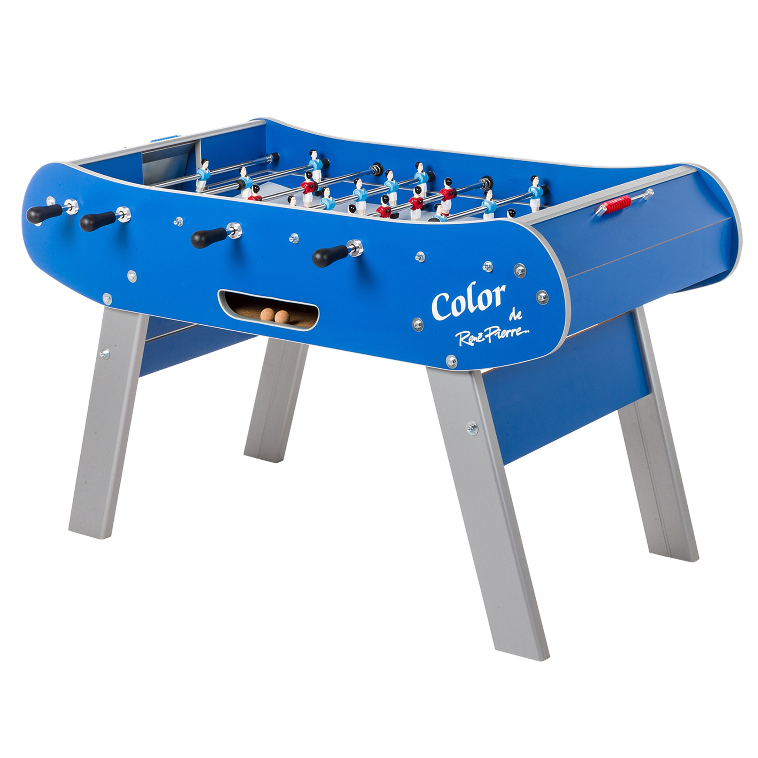 René Pierre Color Blue Foosball Table with Safety Telescoping Rods, Ergonomic Handles, Abacus-Style Scorers and Single Goalies