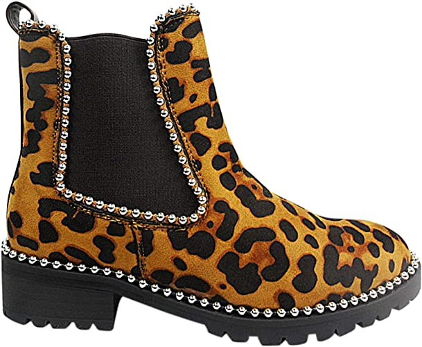 chunky leopard print boots