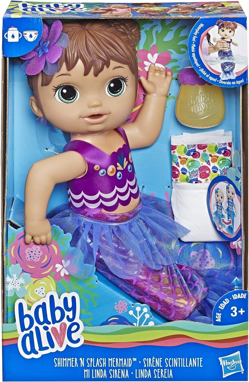B07FHHZ88V Baby Alive Shimmer N Splash Mermaid (Brown Hair) 81gv29y1xuL