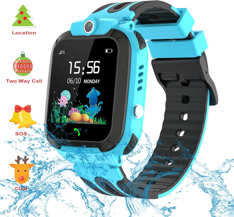 Vannico Smartwatch Niños, Reloj GPS Niño Inteligente Niña IP68 Impermeable con GPS Tracker Teléfono Reloj Despertador Juego de cámara Compatible con 2G Regalo de cumpleaños Simyo (Azul Claro)