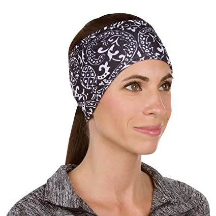 TrailHeads Women s Print Ponytail Headband – 12 prints - Made in USA -  black   white 604cf4bc361