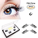False Magnetic Eyelashes by Fstyle,Reusable Fake Eyelashes Natural Look,Eye lashes Extension Ultra Thin Fiber No Glue Allergy,Cruelty Free,1 Pair 4 Pieces Handmade (Extra Long)
