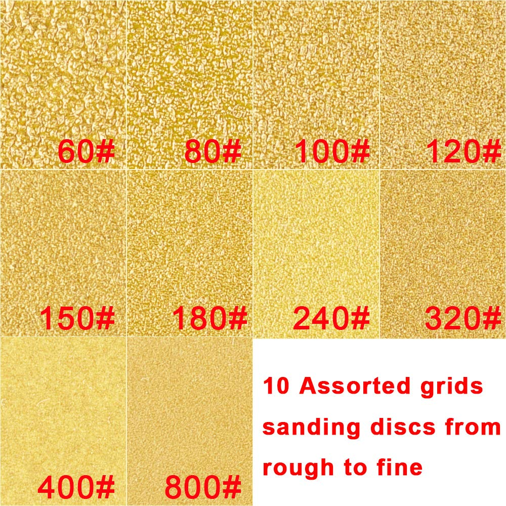 5 Inch 8 Holes Dustless Hook and Loop 60// 80// 100// 120// 150// 180// 240// 320// 400// 800 Grit Sandpaper Assortment for Random Orbital Sander AUSTOR 50 Pieces Gold Sanding Discs