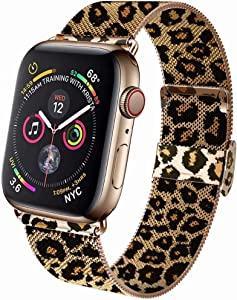 GBPOOT Band Compatible with Watch Band 38mm 40mm 42mm 44mm, Wristband Loop Replacement Band for Iwatch Series 6/SE/5/4/3/2/1,gold Leopard ,38mm/40mm